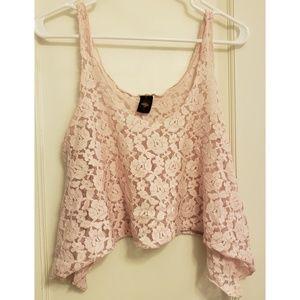 Pink Floral Lace Crop Top
